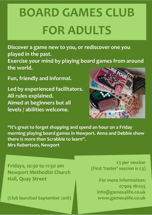 board games club for adults_poster jan 2019