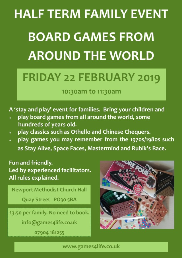board games club for families_half term_poster 22 feb 2019