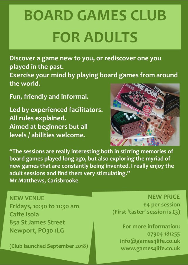 Board Games Club for Adults_poster March 2019